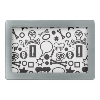 Black and white funky icons belt buckles