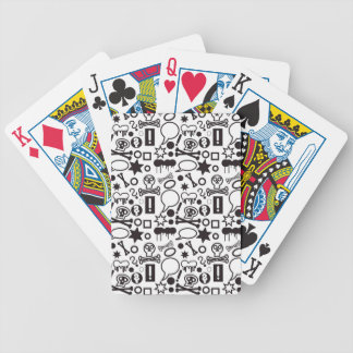 Black and white funky icons bicycle playing cards