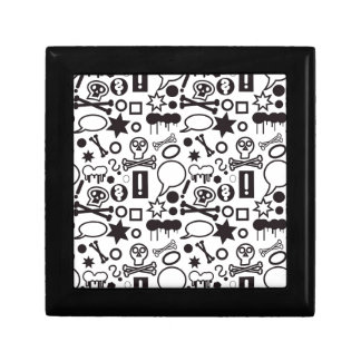 Black and white funky icons gift box
