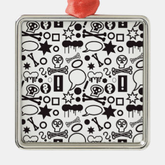 Black and white funky icons Silver-Colored square decoration