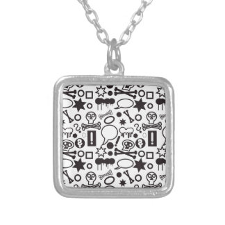 Black and white funky icons silver plated necklace