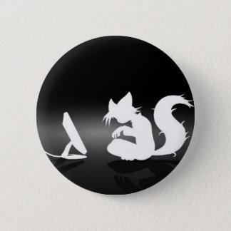 Black and White Furry 6 Cm Round Badge