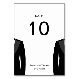 Black And White Gay Wedding Table Numbers Cards
