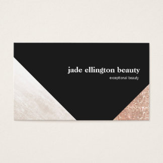 Black and White Geometric Abstract Copper Accent Business Card