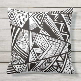 black and white geometric abstract design cushion