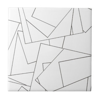 Black And White Geometric - Abstract Ink Drawing Ceramic Tile