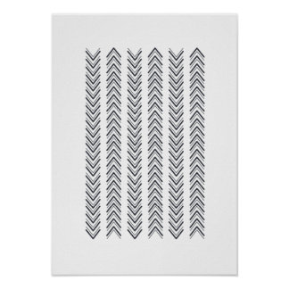 Black and White Geometric Arrow / Delta Poster