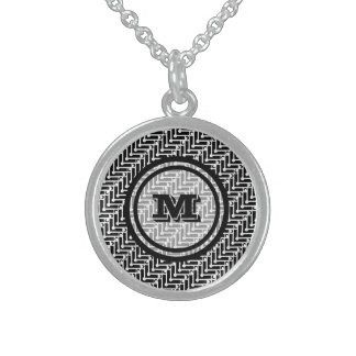 Black and White Geometric Chevron Monogram Sterling Silver Necklace