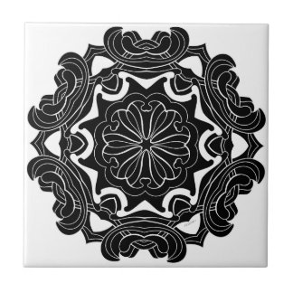 Black and White Geometric Design Tile