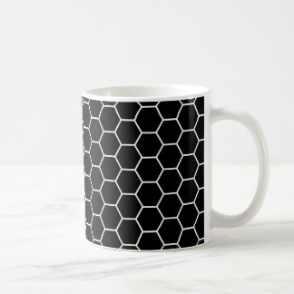 Black and White Geometric Hexagon Pattern Coffee Mug