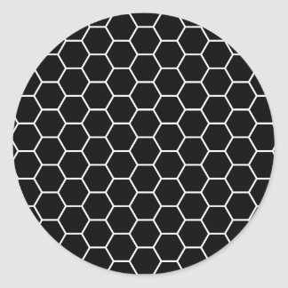Black and White Geometric Hexagon Pattern Round Sticker