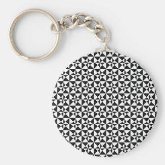 Black And White Geometric iIllusion Basic Round Button Key Ring