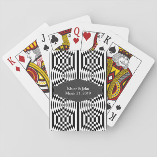 Black and White Geometric Illusion 003 Playing Cards
