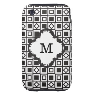 Black and White Geometric iPhone 3 Tough Cover