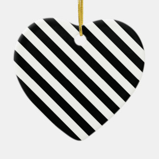 Black and White Geometric Line Pattern Ceramic Heart Decoration
