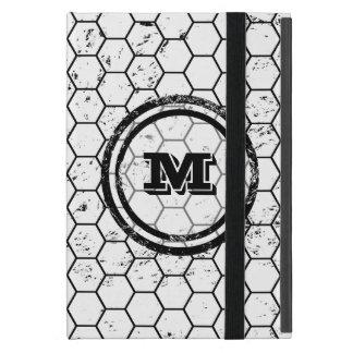 Black and white geometric monogram iPad mini case