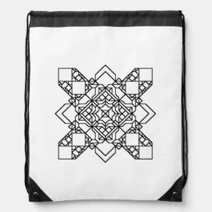 black and white geometric mosaic drawstring bag ac6652c5093b8