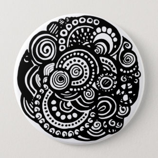 Black and White geometric pattern Button