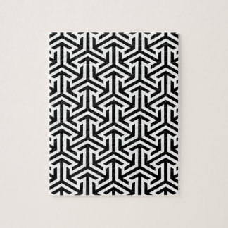 Black and White Geometric Pattern Jigsaw Puzzle