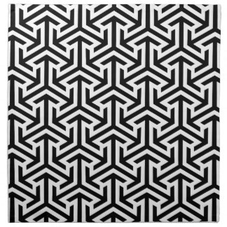 Black and White Geometric Pattern Napkin