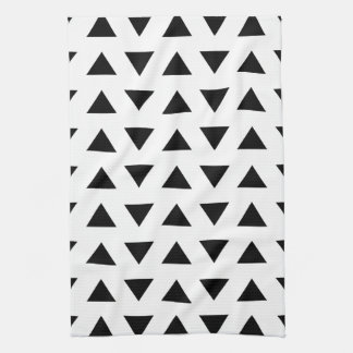 Black and White Geometric Pattern of Triangles. Tea Towel