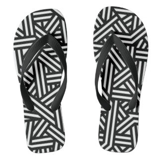 Black and White Geometric Patterned Thongs