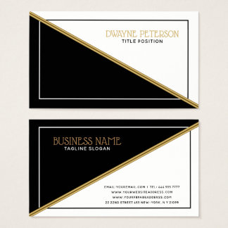 Black And White Geometric Shapes Gold Stripe Business Card