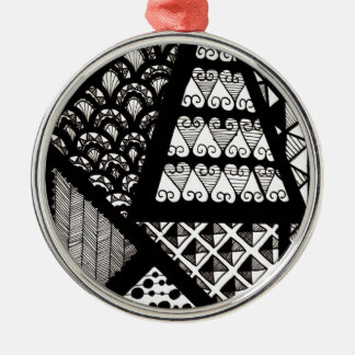 Black and white geometric Silver-Colored round decoration
