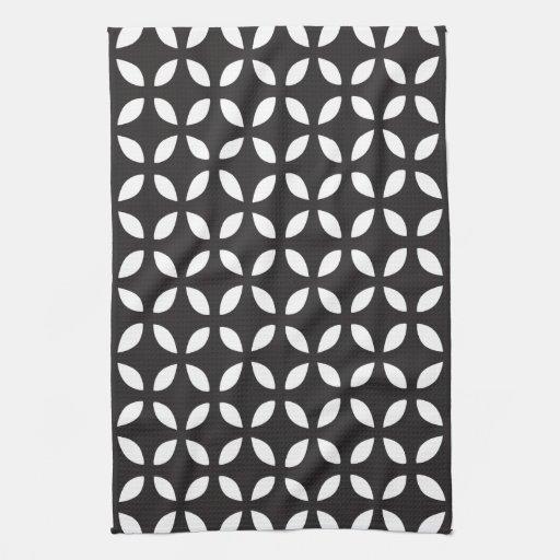 Black and White Geometric Hand Towels