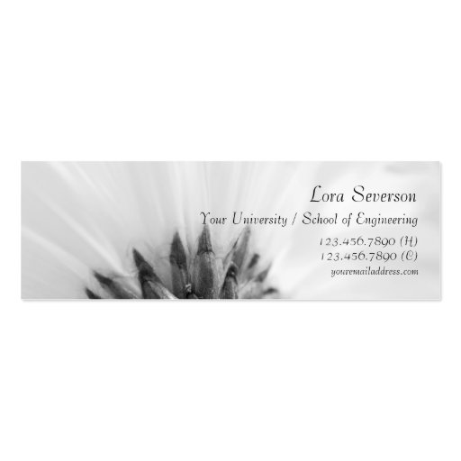 Black and White Gerber Daisy Graduate Business Card Templates