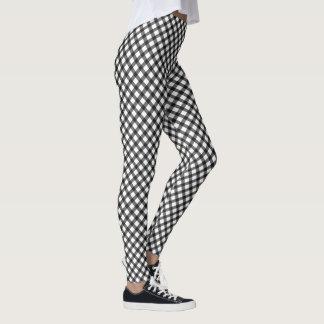Black And White Gingham Argyle Check Pattern Leggings