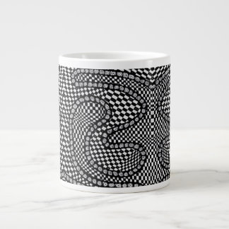 Black and White Gingham Check Jumbo Coffee Mug