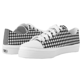 Black And White Gingham Check Pattern Low Tops