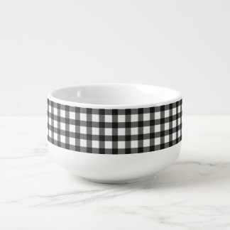 Black And White Gingham Check Pattern Soup Mug