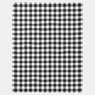Black and White Gingham Checks Squares Modern Fleece Blanket