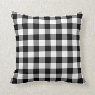 Black and White Gingham Pattern Cushion