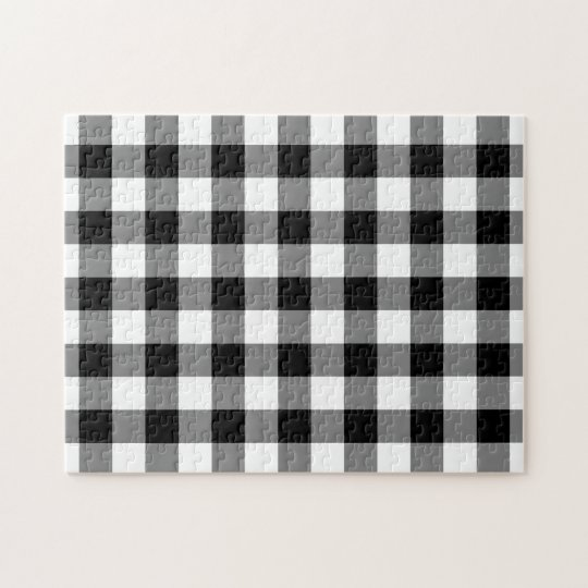 Black and White Gingham Pattern Jigsaw Puzzle