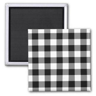 Black and White Gingham Pattern Magnet