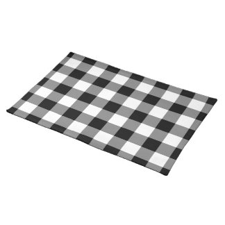 Black and White Gingham Pattern Place Mats