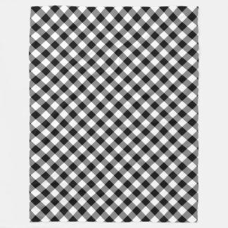 Black and White Gingham Plaid Fleece Blanket