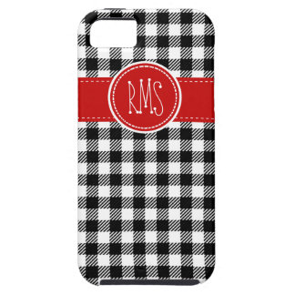 Black and White Gingham with Red Accents iPhone 5 Case