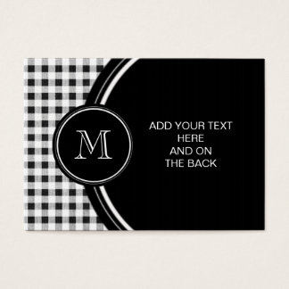 Black and White Gingham, Your Monogram Business Card