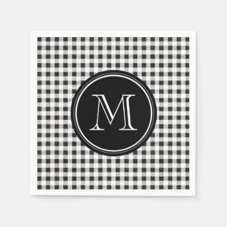Black and White Gingham, Your Monogram Paper Napkin