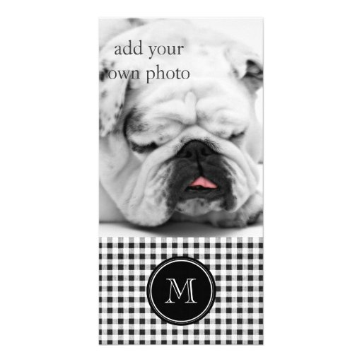 Black and White Gingham, Your Monogram Picture Card
