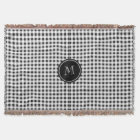 Black and White Gingham, Your Monogram Throw Blanket