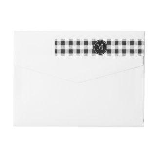 Black and White Gingham, Your Monogram Wraparound Return Address Label
