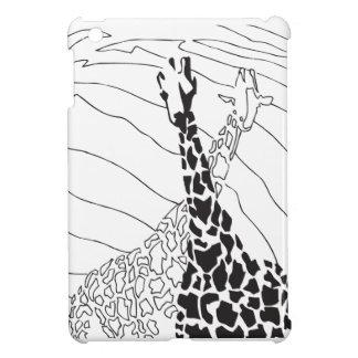 Black and White Giraffe graphic iPad Mini Cases