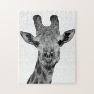 Black and White Giraffe Photograph Jigsaw Puzzle