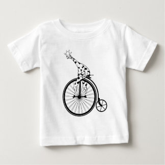 Black and white giraffe riding a bike baby T-Shirt