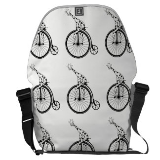 Black and white giraffe riding a bike commuter bag
